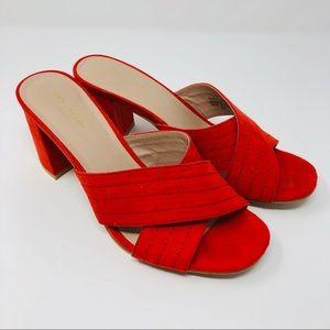 Ann Taylor Factory | Red Suede Block Heel Sandals